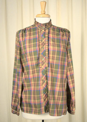 1970s Pink Plaid Ruffle Blouse - Cats Like Us