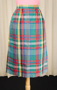 1970s Rainbow Plaid Midi Skirt - Cats Like Us