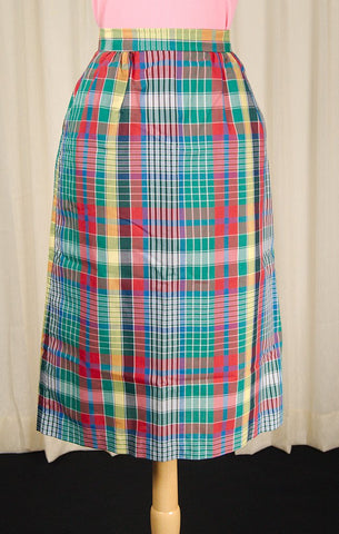 1970s Rainbow Plaid Midi Skirt