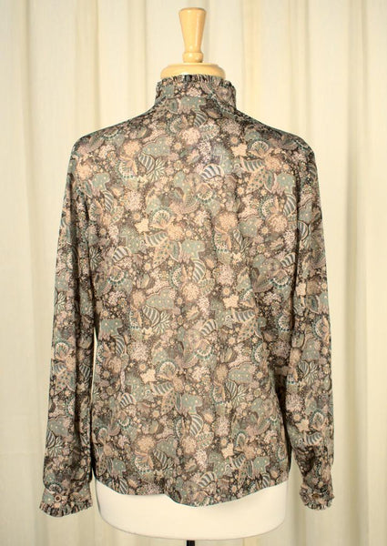 1970s Romantic Leaf Blouse