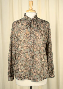 1970s Romantic Leaf Blouse - Cats Like Us