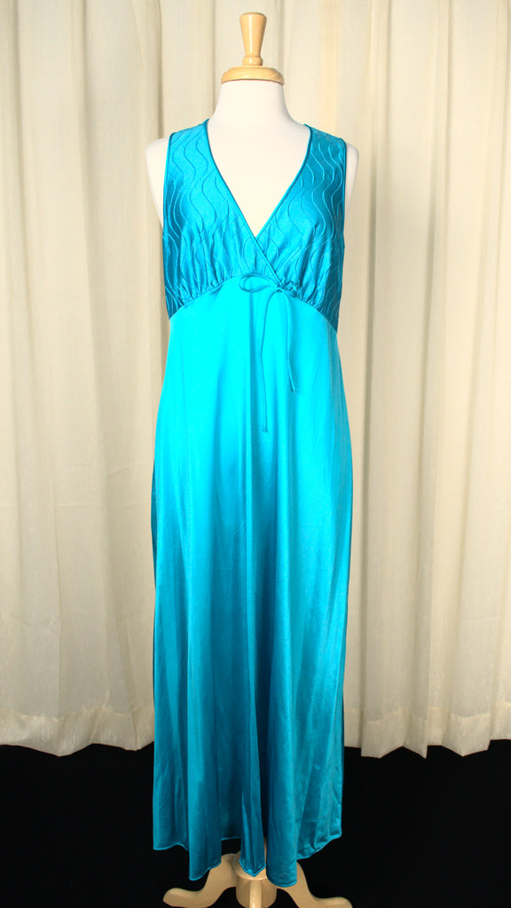 1970s Sexy Teal Night Gown