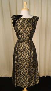 50s Gold Paisley Cocktail Dress