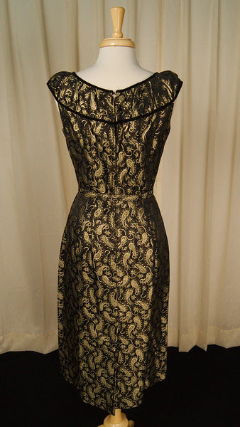 50s Gold Paisley Cocktail Dress by Vintage Collection by Cats Like Us - Cats Like Us