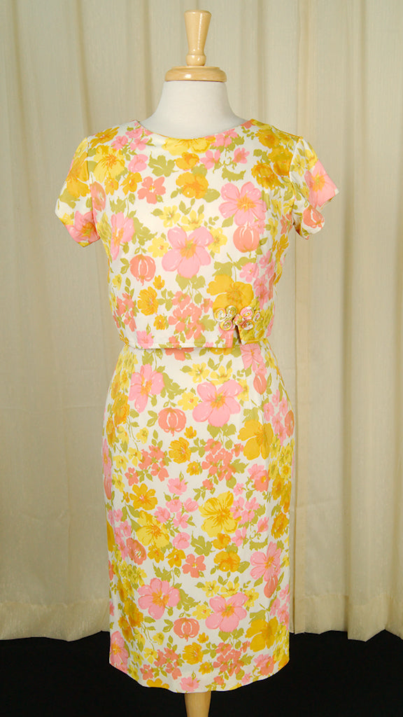 60s Orange & Pink Wiggle Dress by Vintage Collection by Cats Like Us - Cats Like Us