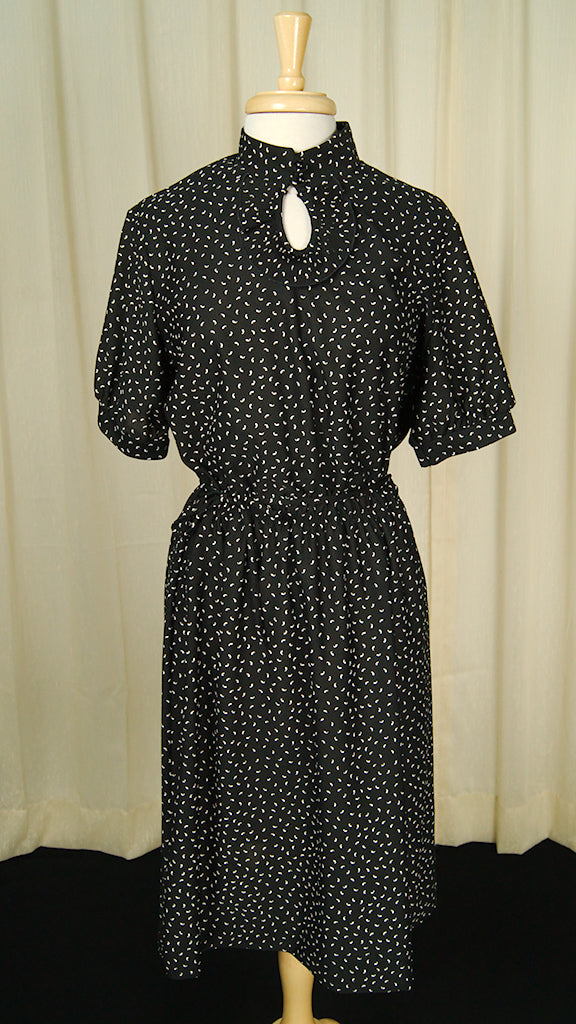 70s 1940s Keyhole Ruffle Dress by Vintage Collection by Cats Like Us - Cats Like Us