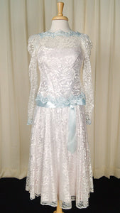 70s does 1920s Ice Blue Dress - Cats Like Us