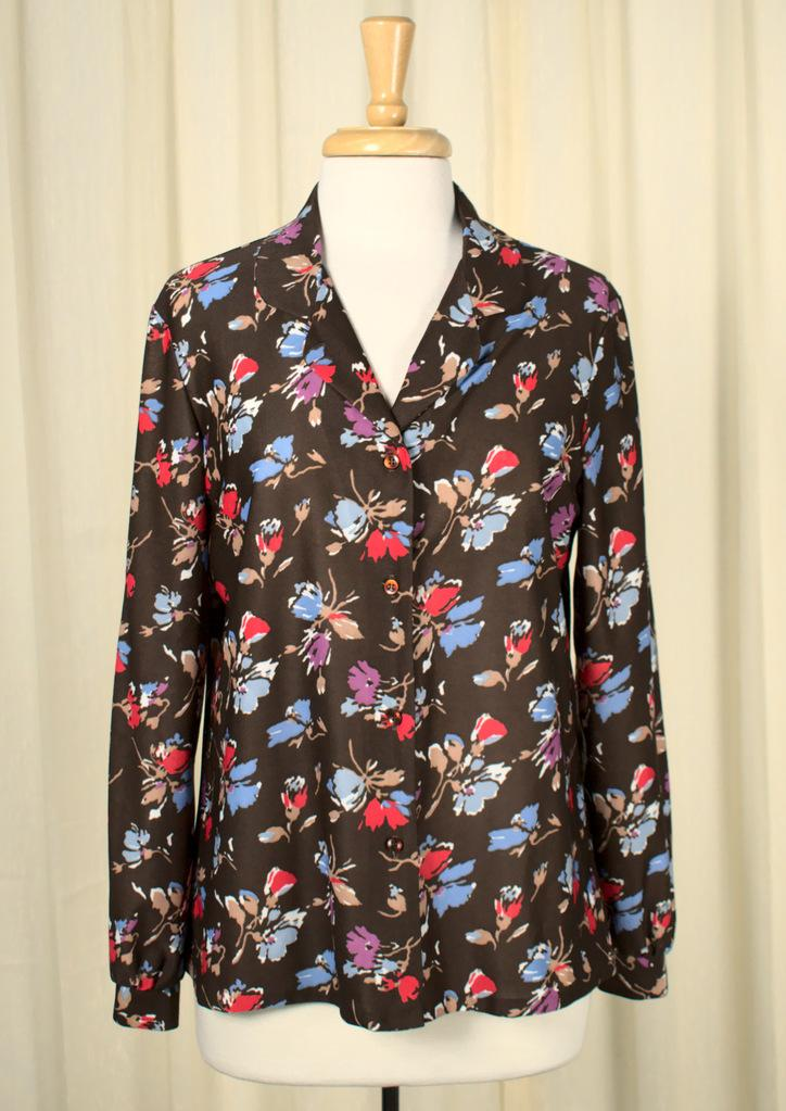 70s does 1940s Floral Blouse - Cats Like Us