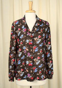 70s does 1940s Floral Blouse
