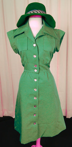 70s does 1940s Green Dress by Cats Like Us - Cats Like Us