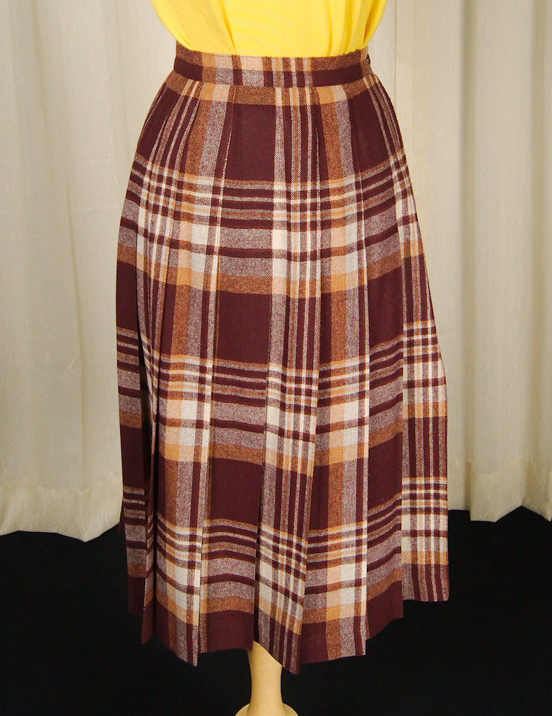 70s does 1950s Brwn Plaid Skirt