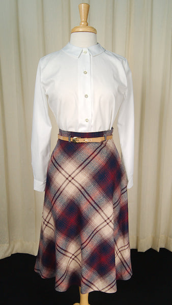 70s does 1950s Navy & Tan Skirt