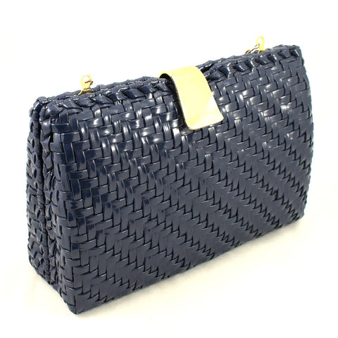 70s does 1950s Vintage Navy Raffia Bag