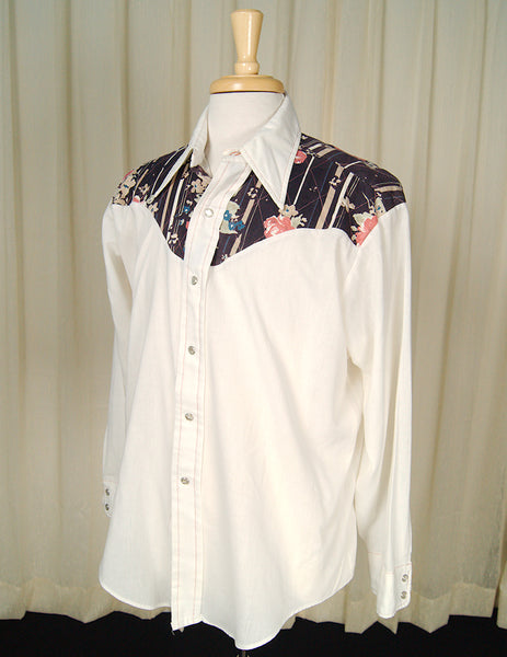 70s does 50s Tan Western Shirt by Cats Like Us - Cats Like Us