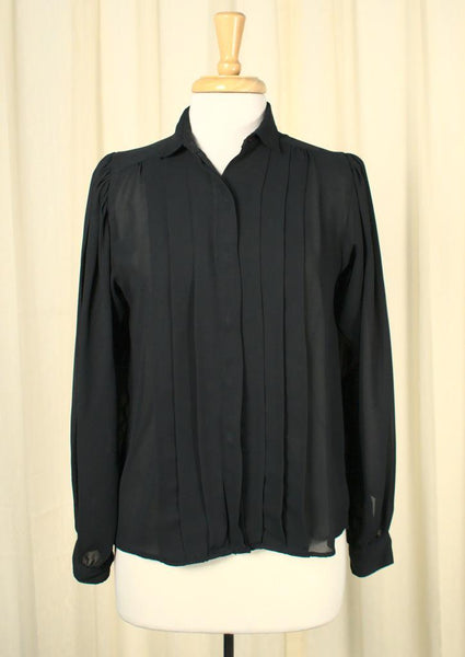 80s does 1940s Black Blouse