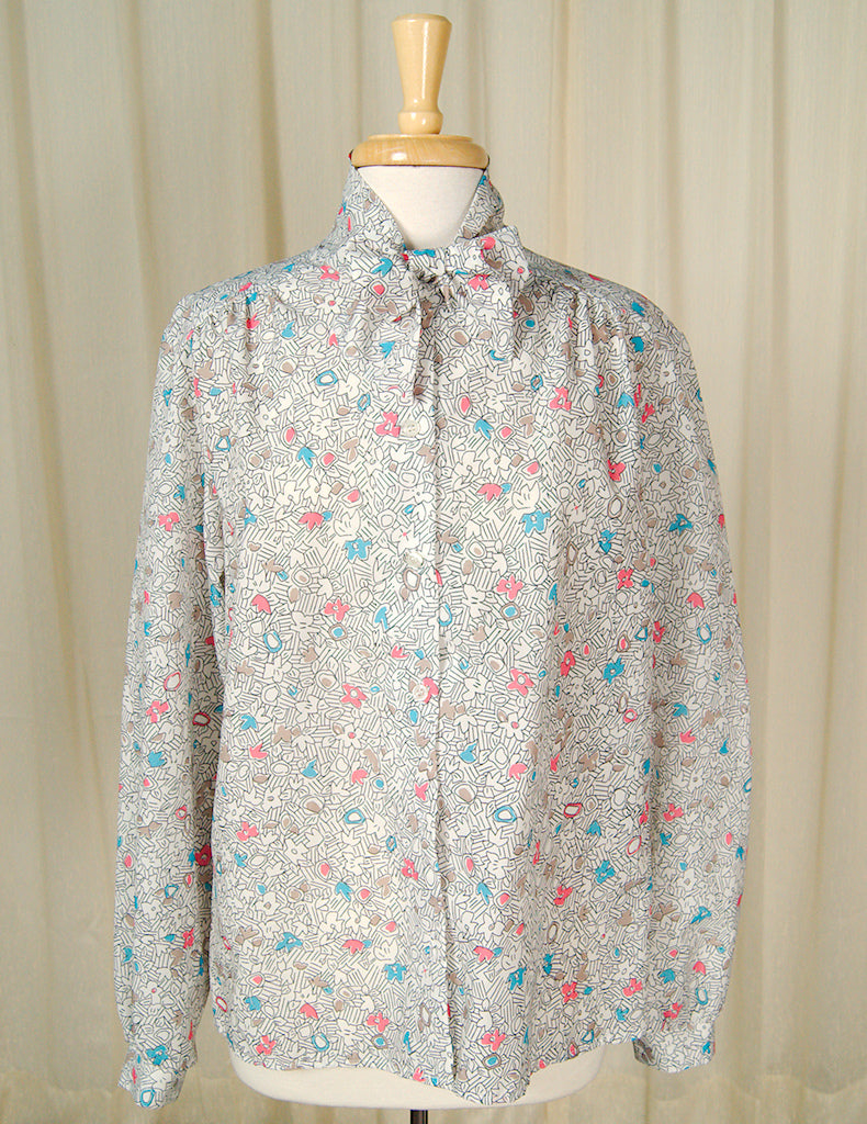80s does 1940s Draw Bow Blouse by Cats Like Us - Cats Like Us
