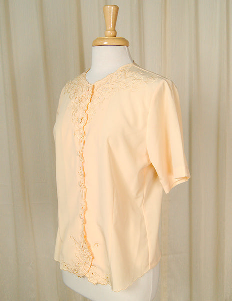 80s does 1940s Eyelet Blouse by Cats Like Us - Cats Like Us