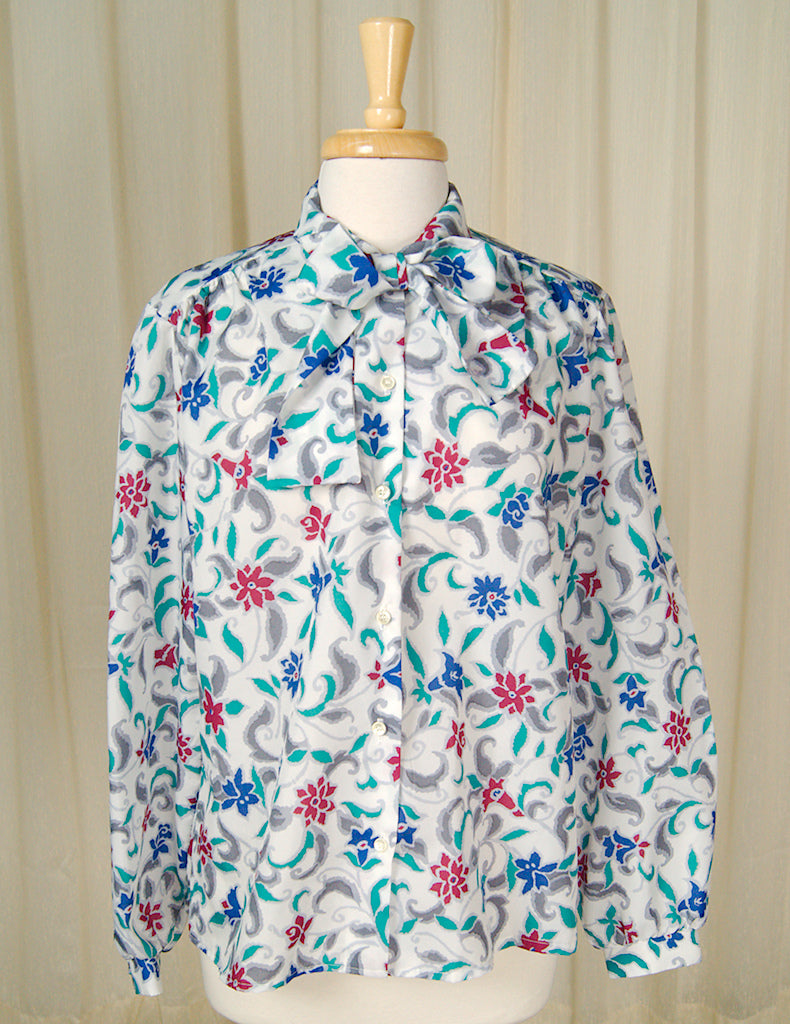 80s does 1940s Flora Bow Blouse by Cats Like Us - Cats Like Us
