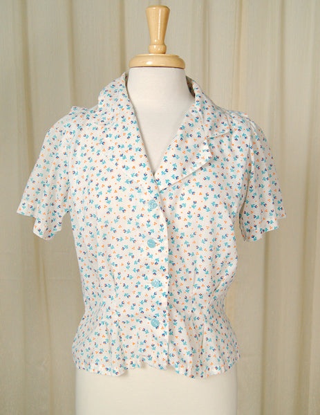 80s does 1940s Floral Blouse by Cats Like Us - Cats Like Us