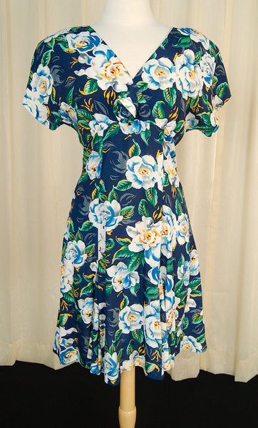 80s does 1940s Floral Dress by Cats Like Us - Cats Like Us