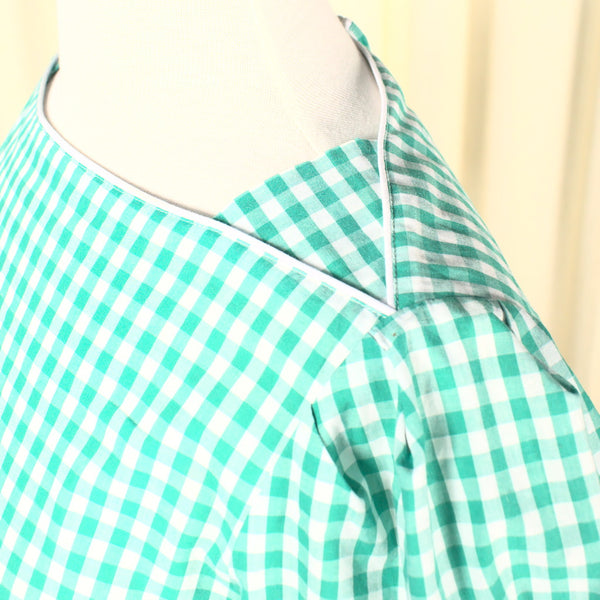 80s does 1940s Vintage Gingham Dress