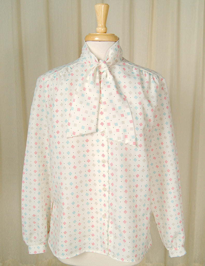 80s does 1940s Lines Bow Blouse by Cats Like Us - Cats Like Us