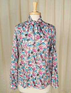 80s does 1940s Paint Bow Blouse by Cats Like Us - Cats Like Us