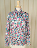 Cats Like Us 80s does 1940s Paint Bow Blouse
