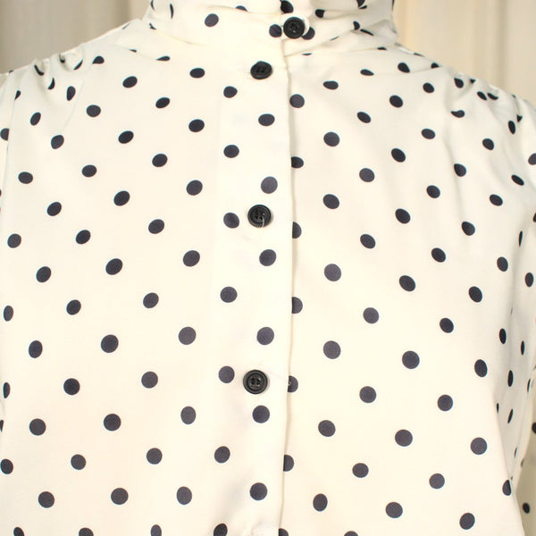 80s does 1940s Polka Dot Blouse - Cats Like Us