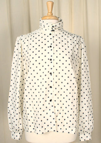 80s does 1940s Polka Dot Blouse