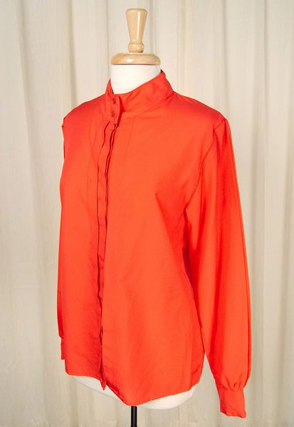 80s does 1940s Red Pleat Blouse