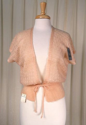 80s does 1940s Tan Open Cardi - Cats Like Us