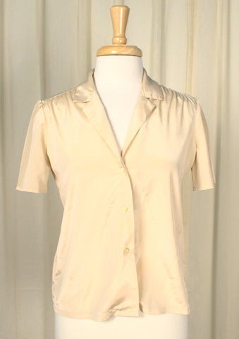 80s does 1940s Tan Silky Blouse