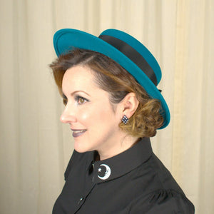 80s does 1940s Turquoise Hat - Cats Like Us