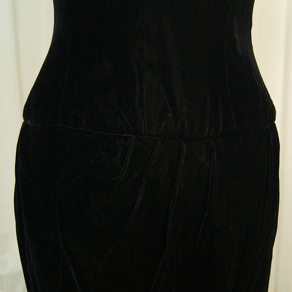 80s does 1940s Velvet Dress by Vintage Collection by Cats Like Us - Cats Like Us
