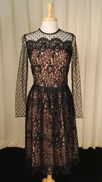 80s does 1950s Black Lace Dress by Vintage Collection by Cats Like Us : Cats Like Us