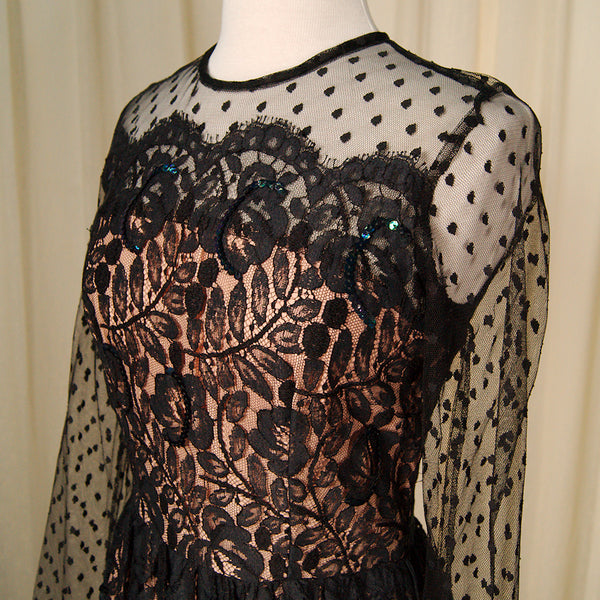 80s does 1950s Black Lace Dress by Vintage Collection by Cats Like Us - Cats Like Us