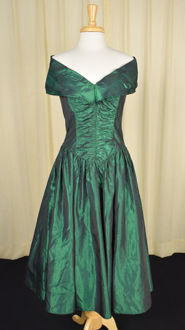 Gunne Sax by Jessica McClintock Vintage 80s does 1950s Emerald Dress