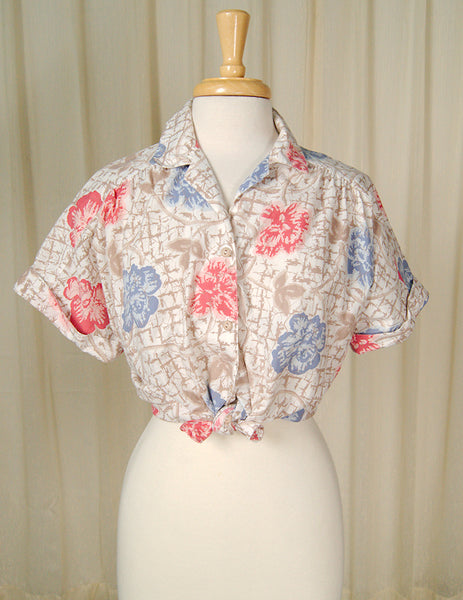 80s does 1950s Floral Shirt by Cats Like Us - Cats Like Us