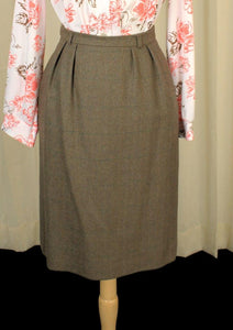80s does 1950s Mossy Wool Skirt - Cats Like Us
