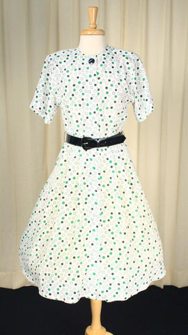 80s does 1950s Polka Dot Dress - Cats Like Us