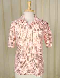 80s does 1950s Red Polka Top by Cats Like Us - Cats Like Us