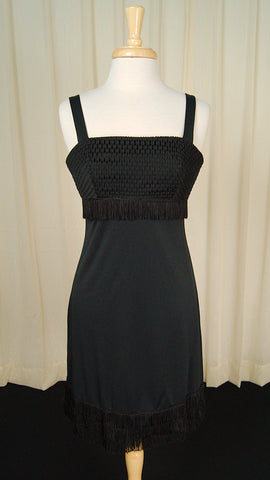 80s does 1960s LBD Fringe Dress by Cats Like Us - Cats Like Us