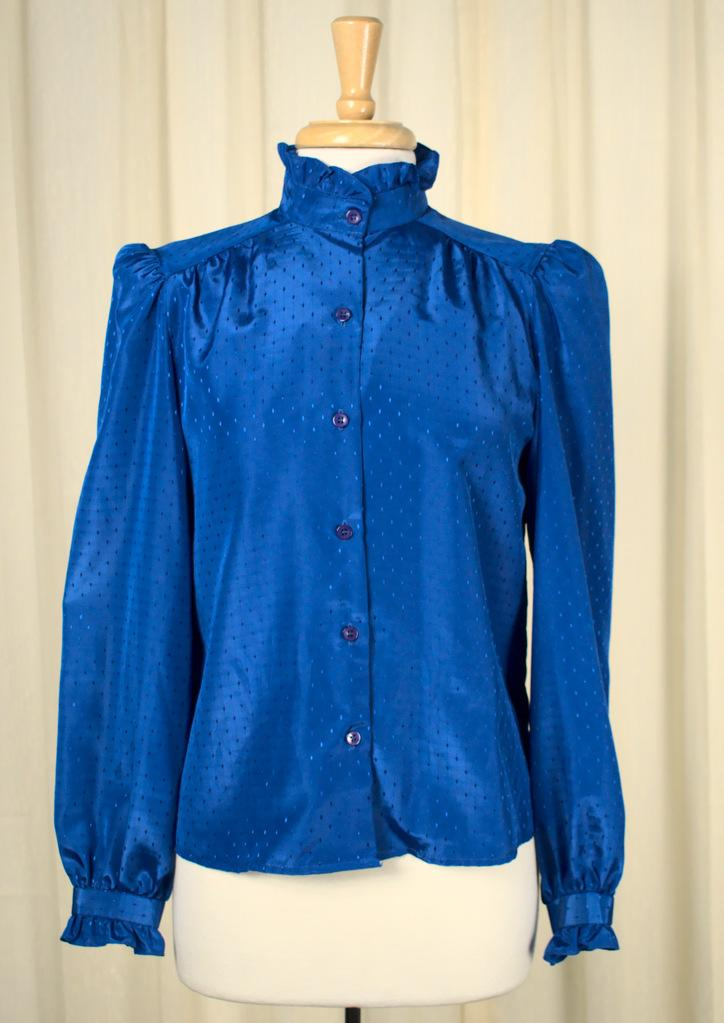 80s does 40s Blue Ruffle Blouse