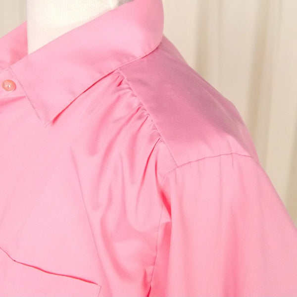 80s does 40s Loose Pink Blouse - Cats Like Us