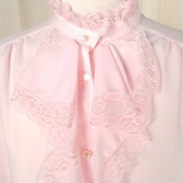 80s does 40s Pink Ruffle Blouse