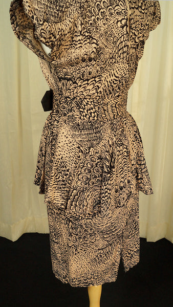 80s does 40s Wild Peplum Dress by Vintage Collection by Cats Like Us - Cats Like Us