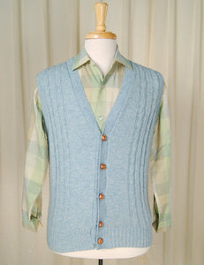 80s does 50s Blue Sweater Vest