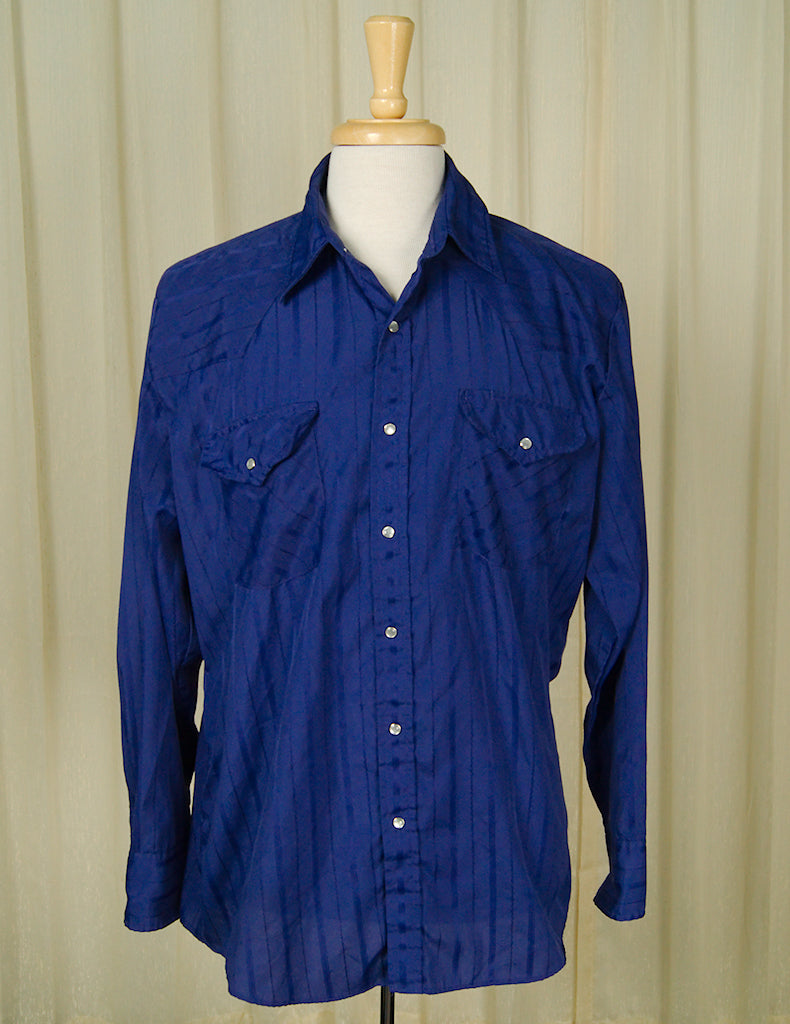 80s does 50s Blue Western Shirt by Vintage Collection by Cats Like Us : Cats Like Us