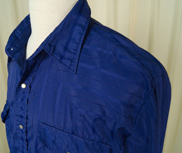 80s does 50s Blue Western Shirt
